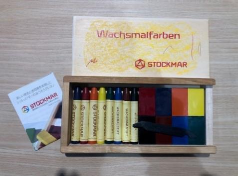 ブロック8色スティック8色木箱セット